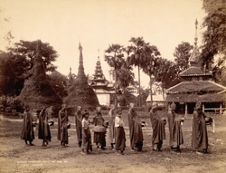 Burmese Hpongyees [monks] collecting alms